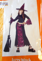 Jazzy Witch Child Costume Dress Hat L 10-12 NIP