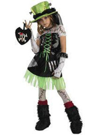 Monster Bride Green Black Dress Hat Costume Child 10-12 NWT