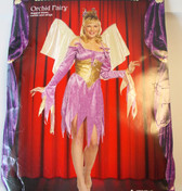 Orchid Fairy Dress Wings Adult Costume S 6-8 NIP