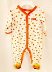 Baby's First Halloween Infant Boys Unisex White Orange 1 Piece Jumpsuit 6-9 Months NWT
