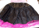 "Black Hot Pink Layered Tutu Petticoat Child OSFM 14"" NWT"