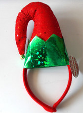 Santa Helper Elf Headband only Red Sequin Green Costume OSFM NWT