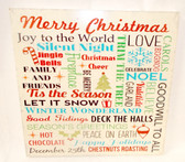 """Christmas Words Cream Red Green Wall Art Wood Hanging Decor 13"""" NWT"""