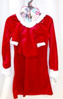 Red Velour Polyester Dress Child Matching Doll Dress Faux Fur Trim 4-5 6-6x 7-8 10-12 NWT