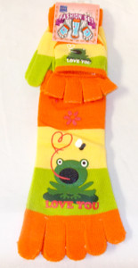 Frog Love You Orange Green Striped Toe Socks Mittens Set Child 9-11 NWT