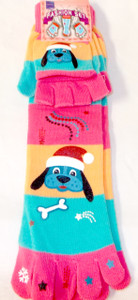Santa Puppy Dog Pink Orange Blue White Striped Toe Socks Mittens Set Child 9-11 NWT