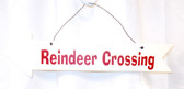 "Reindeer Crossing White Red Wood Directional Arrow Sign Christmas Decor 13"" New"