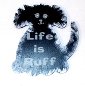 "Black Dog Life is Ruff Wood Sign Magnet 3.5"" NeW"