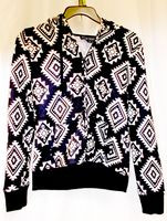 Almost Famous Faux Shera Trim Printed Hoodie Black S NWT