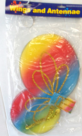 Rainbow Butterfly Wings Headband Antenna Set NIP