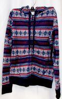 Almost Famous Faux Shera Trim Printed Hoodie Navy Red XS NWT