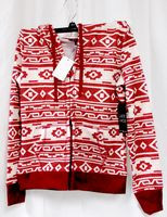 Almost Famous Faux Shera Trim Printed Hoodie Burgundy L NWT