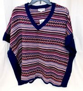 Freshman Juniors' Striped V-Neck Poncho Sweater Purple Navy XS NWT