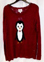 Hippie Rose Juniors' Penguin Pullover Sweater Burgundy XL NWT