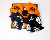 "Halloween Orange Black Hairbows Skeletons 3"" Lot 2 NIP"