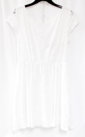 B Darlin Juniors' Lace Light Ivory Exposed Zipper Dress 13/14 NWT