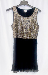 Maison Jules Sleeveless Sequined Pleated Party Dress Women's L NWT