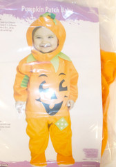 Fun World Orange Black Pumpkin Patch Baby Costume Jumpsuit Child L 12-24MTHS NIP
