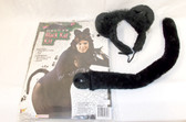 Forum Novelties Deluxe Black Kat Kit Ears Headband Tail Costume Accessory Adult OSFM NIP