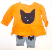 Carters Orange Black White Cat Halloween 2 Pc Outfit Child Newborn 3M NIP