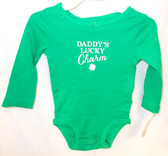 Carters Green White Daddy's Lucky Charm One Piece Outfit Child 12M NIP