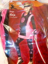 Fun World Pink Black Dragon Ninja Costume Dress Child S M L NIP