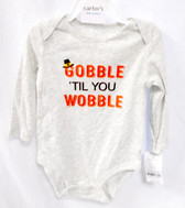 Carter's Baby Heather Gray Gobble Till You Wobble Thanksgiving One Piece Outfit Newborn NWT