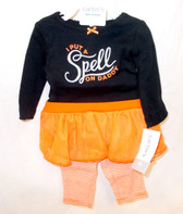 Carters Black Orange Silver I Put A Spell On Daddy 2 Piece Long Sleeve Tutu Outfit Child NB NIP