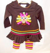 Bonnie Jean Brown Green Pink Orange White Turkey 2 Piece Long Sleeve Outfit Child 4T NIP