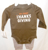 Carters My First Thanksgiving Turkey 2 Pc Outfit Child Newborn 3M 6M NIP