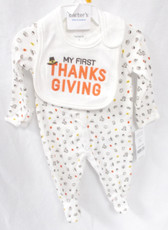 Carters My First Thanksgiving Bib Sleeper White Orange Child NB 3M 6M 9M NIP