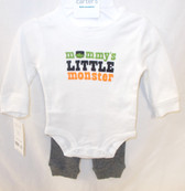 Carters White Halloween Mommy's Little Monster Frankenstein 2 Pc Outfit Child Newborn 3M 6M 9M NIP