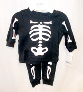 Carters White Black Halloween Skeleton 2 Pc Outfit Child Newborn 3M 6M 9M NIP