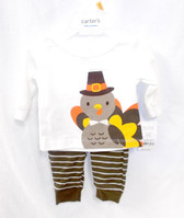Carter's Baby Ivory Brown Turkey Thanksgiving 2 Piece Outfit Newborn 3M 6M 9M NWT