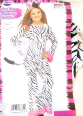 Fun World Black White Pink Zeba Diva Costume Jumpsuit Child S M L NIP