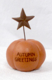 "Gordman's Autumn Greetings Star Pumpkin Halloween Decor 3"" NWT"