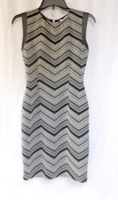 Bar III Chevron Sheath Dress Black Ivory Pleather Trim Sleeves M NWT