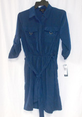 BCX Juniors Utility Pocket Shirt dress Navy Women's M NWT
