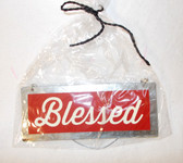Harvest Red Silver Blessed Metal Decor Sign  4in NIP