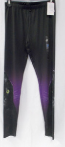 Modern Lux Black Cat Halloween Womens Purple Leggings S NWT