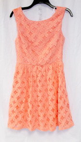 Juniors City Studio Floral Crochet Dress Peach 9 NWT