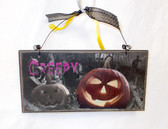 "Gordman's Creepy Pumpkins Jack O Lanterns Wooden Sign Halloween Decor 8"" NWT"