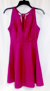 Free People Miss Connections Fuschia Sleeveless Cutout Printed Dress 2 NWT