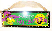 Black Purple Green Yellow Happy Halloween Witch Hanging Wood Decor Sign  12in NIP