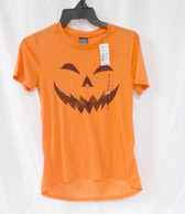Modern Lux Orange Jack o lantern Halloween Juniors T-shirt S NWT