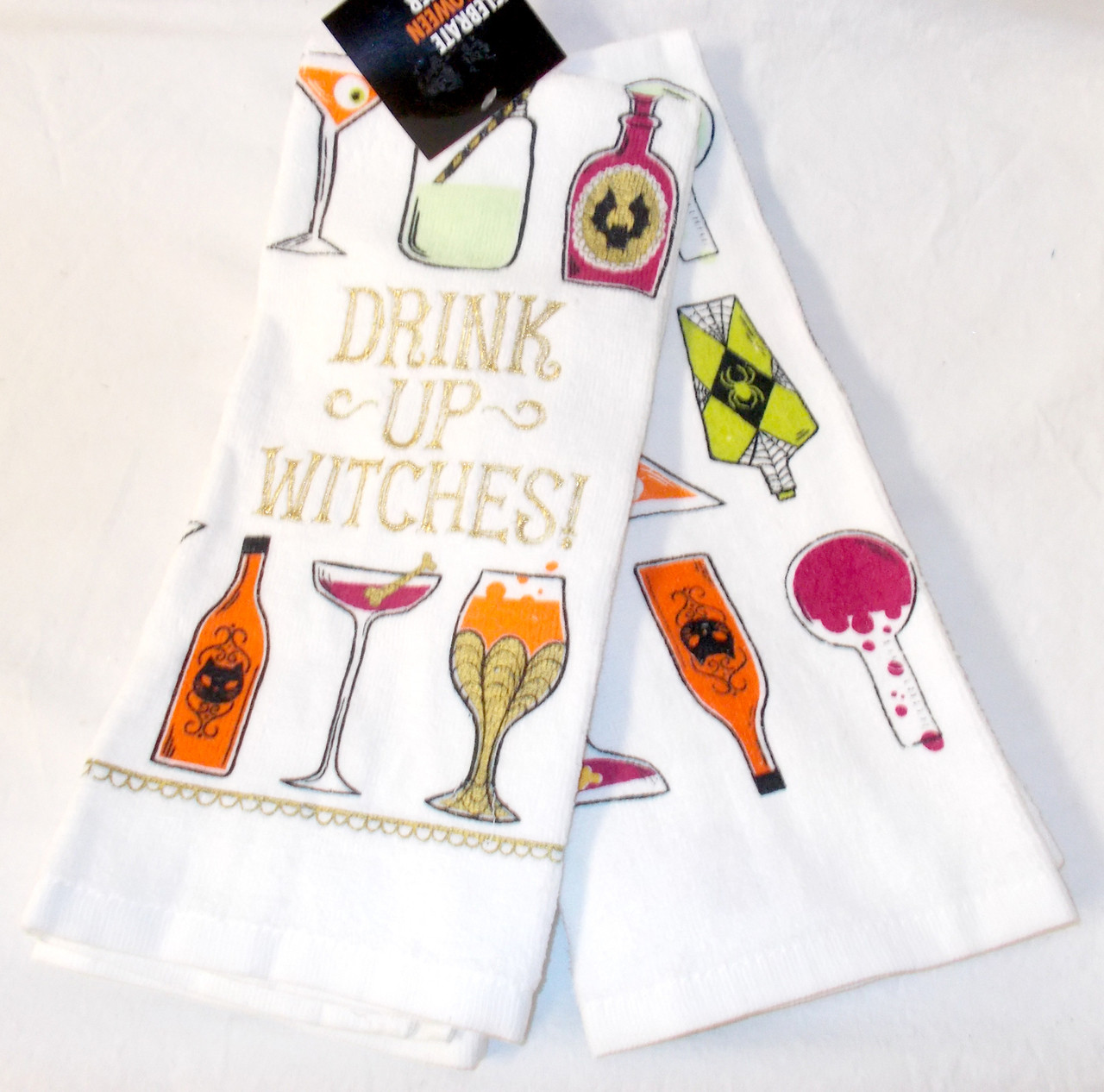 Kohls Celebrate Halloween Kitchen Towel Set 2 Drink Up Witches Drinks Nwt