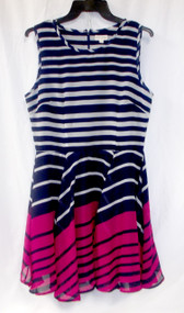 Maison Jules Navy Fuchsia Striped Fit & Flare Dress Junior's L NWT
