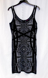 Material Girl Juniors' Black Silver Sweater Tank Dress L NWT