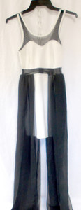 Material Girl Juniors' Illusion Tank Ivory Black Sheer Dress XS NWT