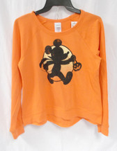 Disney Mickey Mouse Moon Halloween Juniors Orange Crewneck M XL NWT